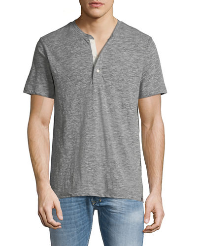 Men's Short-Sleeve Heathered Henley Tee