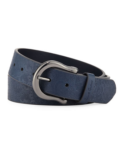 Vince Paisley-Embossed Leather Belt