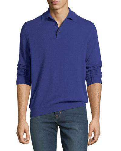 Men's Cashmere Suede-Piped Polo Sweater