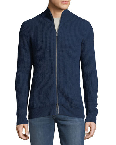 Men's Cashmere Mock-Neck Zip Front Jacket