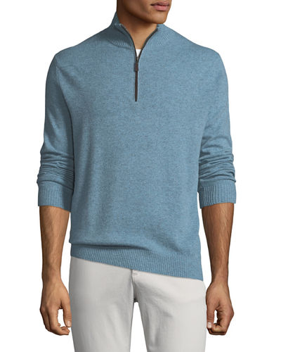 Men's Cashmere Suede-Piped Mock-Neck Sweater