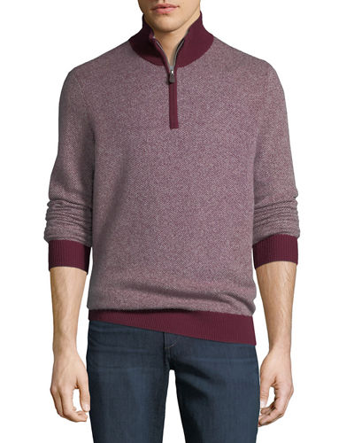 Neiman Marcus Cashmere Collection Men's Cashmere Two-Tone 1/4-Zip
