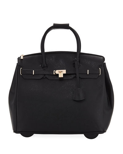 James Saffiano Faux-Leather Rolling Bag