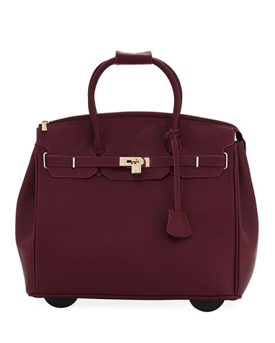 KC Jagger James Saffiano Faux-Leather Rolling Bag