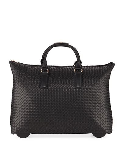 Laney Woven Faux-Leather Rolling Bag