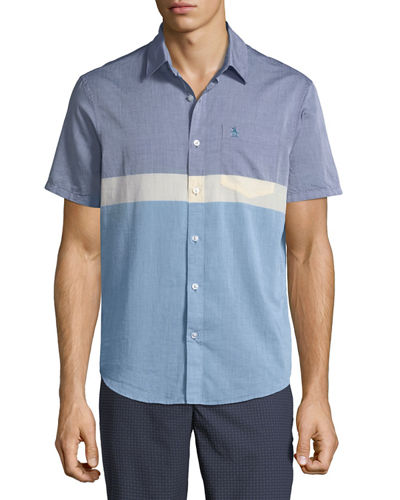 Original Penguin Men's Short-Sleeve Button-Down Colorblock Sport