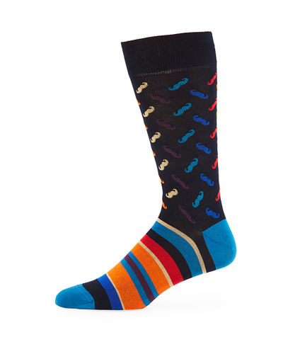 Bugatchi Men's Mustache-Cuff Striped Socks