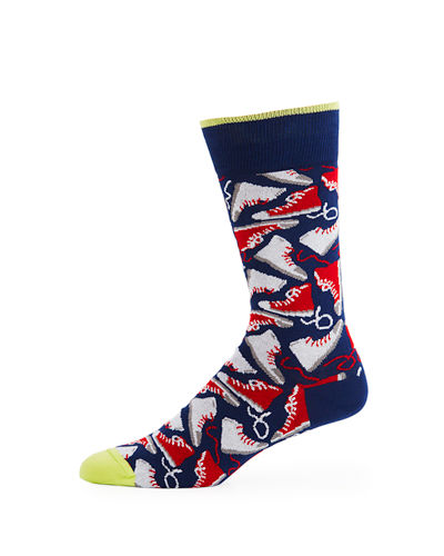 Bugatchi Men's Sneaker-Pattern Socks