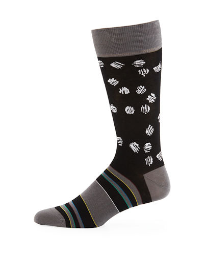 Bugatchi Men's Striped Scratched-Dot Socks