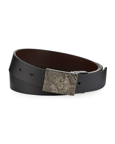 Men's Holmes Paisley-Etched Buckle Leather Belt