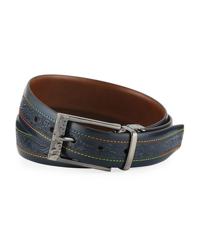 Robert Graham Men's Cisco Multicolor-Stitched Leather Belt