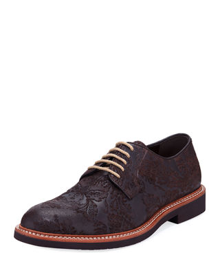TALLIA Men'S Frederico Textured Oxfords Men'S Shoes in Brown