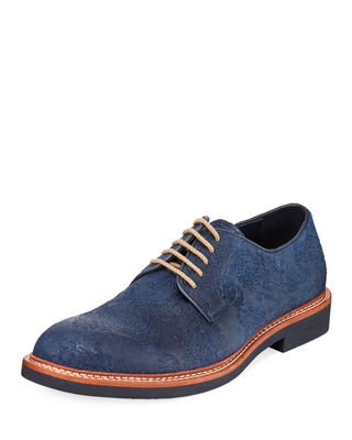 TALLIA Men'S Frederico Textured Oxfords Men'S Shoes in Blue