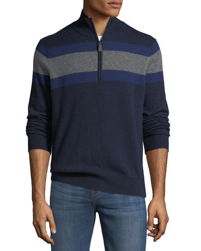 Men's Striped Cashmere 1/4-Zip Sweater