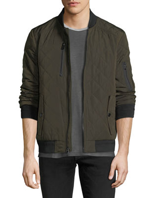 ICONIC AMERICAN DESIGNER Men'S Quilted Bomber Jacket in Green