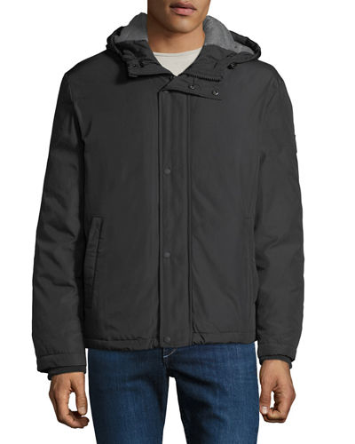 Men's Lightweight Hooded Oxford Bomber Jacket