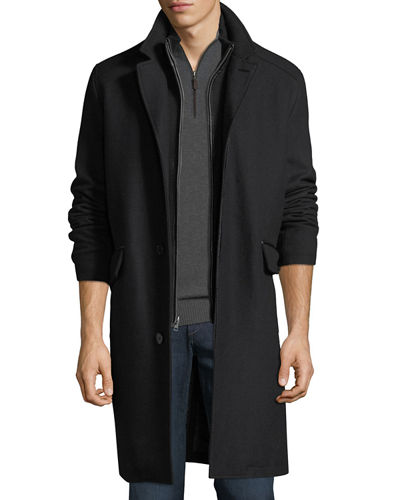 Men's Wool-Twill Bibbed Topper Jacket