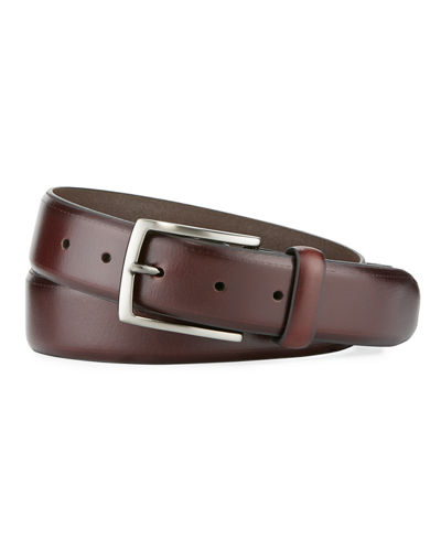Men's Feather-Edge Embossed Leather Belt