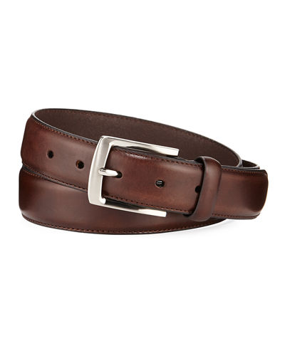 Men's Feather-Edge Stitch Leather Belt