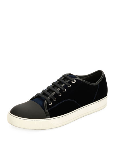 Lanvin Men's Velvet Cap-toe Low-Top Shoe