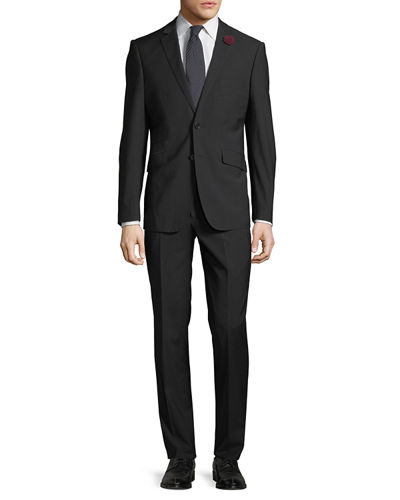 Men's Two-Piece Suit w/ Rose Lapel, Black