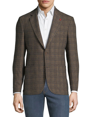 Men's Cotton/Wool-Blend Plaid Blazer Jacket