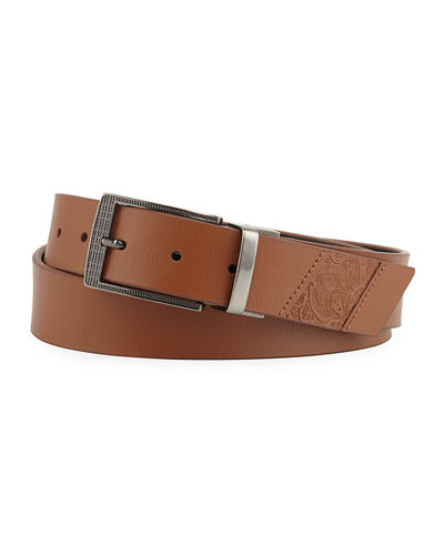 Men's Newberry Embossed Paisley Leather Belt