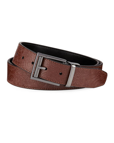 Robert Graham Men's Horton Embossed Paisley Leather Belt