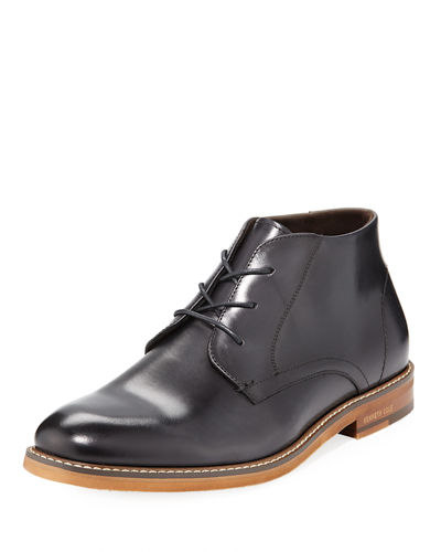 Men's Shiny Leather Ankle Boots