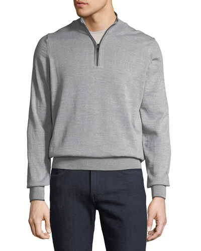 Men's Mock-Neck Zip Pullover Sweater