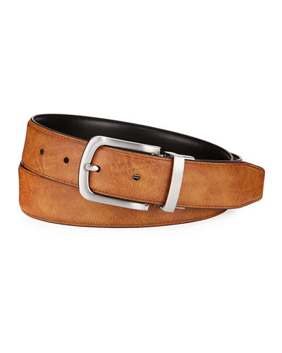 Men's Feather-Edge Reversible Leather Belt