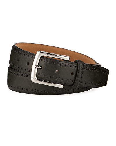 Men's Perforated-Trim Dress Belt