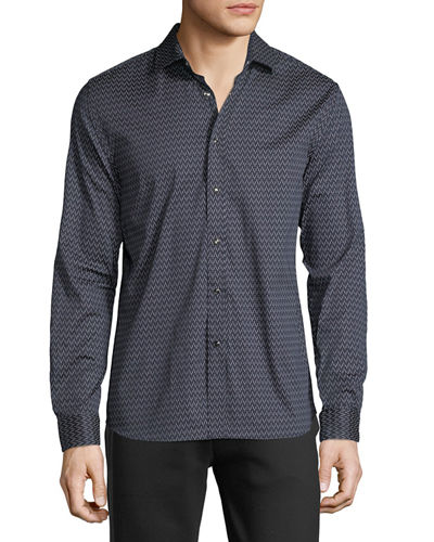 Karl Lagerfeld Paris Men's Dash Print Long-Sleeve Shirt