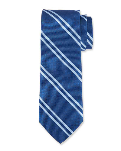 Boxed Stripe Silk Tie