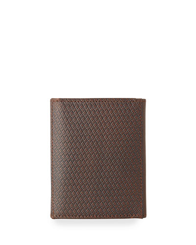 Men's Woven Leather Tri-Fold Wallet