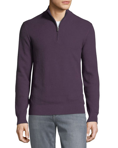 Men's Mock-Neck Elbow-Patch Sweater