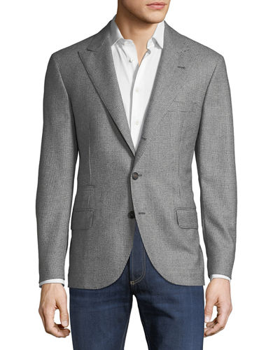 Brunello Cucinelli Men's Houndstooth Constructed Wool Jacket