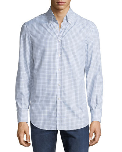 Brunello Cucinelli Men's Basic-Fit Check-Print Sport Shirt