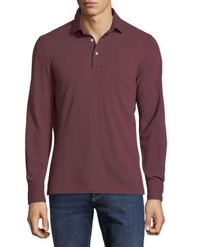 Brunello Cucinelli Men's Slim Fit Cotton Pique Long-Sleeve