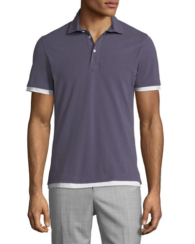 Brunello Cucinelli Men's Double-Layer Cotton Pique Polo Shirt