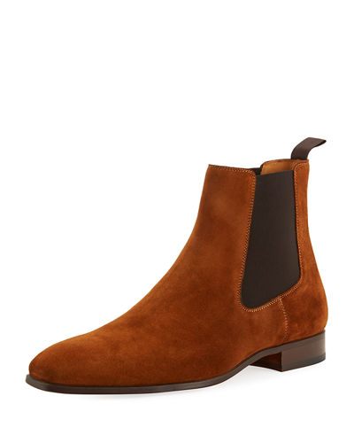 Hand-Antiqued Suede Gored Boots