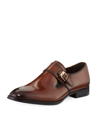 TALLIA Men'S Bruno Brushed Monk-Strap Dress Shoes in Brown