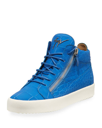 Men's Crocodile-Embossed Leather Mid-Top Sneakers