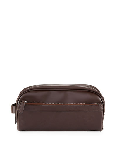 Neiman Marcus Men's Faux-Leather Travel Toiletry Case