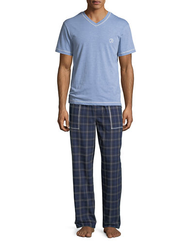 Men's V-Neck Top Flannel Pant Set