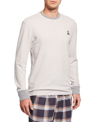 PSYCHO BUNNY Apex Ribbed Colorblock Long-Sleeve Tee in Light Gray