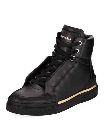 Balmain Men's Atlas Suede High-Top Sneakers