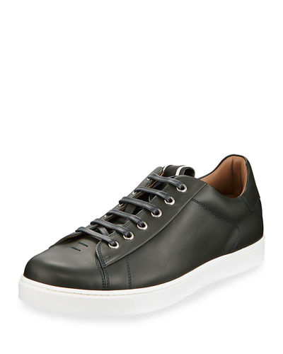 Men's Leather Platform Lace-Up Sneakers