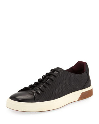 JACHS NY Dave Perforated Leather Low-Top Sneakers in Black