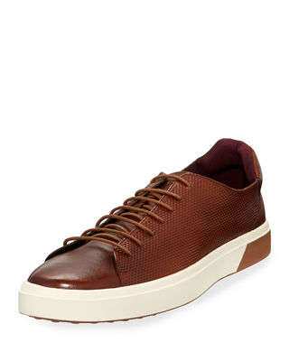 JACHS NY Dave Perforated Leather Low-Top Sneakers in Tan